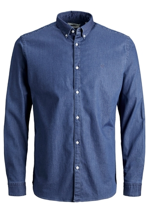 Skjorta - JPRBLALOGO STRETCH DENIM SHIRT